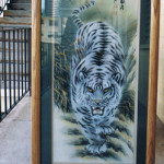 White Tiger silk painting